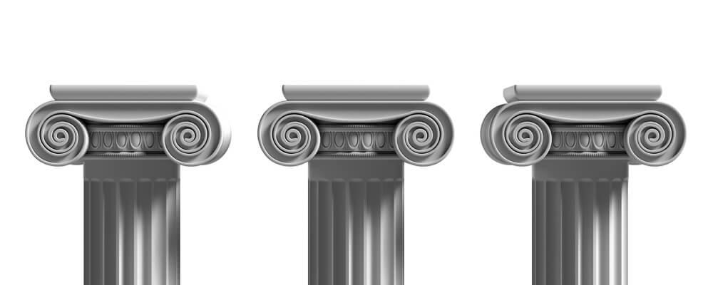 Pillars pedestals, ancient greek stone marble, three